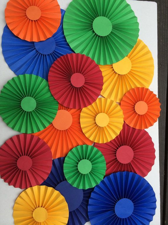 Carnival Photo Backdrop Paper Rosettes, Set of 15 Bright colors for Carnival or Circus Party, CUSTOM colors Too, Paper Rosettes in 2 sizes on Etsy, $60.00