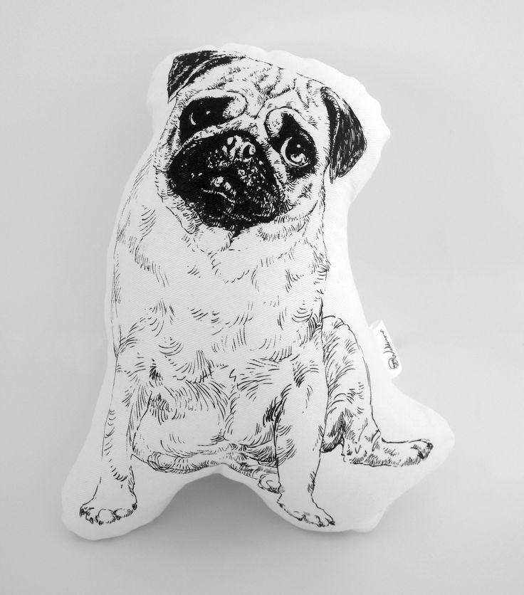 Hand screen printed cotton pug plushie
