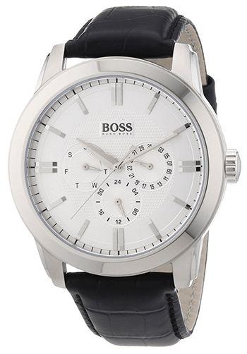 Montre Hugo Boss Cuir Noir - Cadran Acier inoxydable Argent - Quartz Analogique - Bracelet Cuir Noir - Date - 1512892