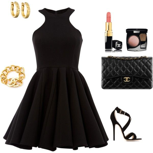 Chanel accented black skater dress outfit created by tsteele
