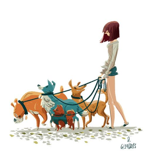 Saw this lady walking a bunch of dogs while getting my coffee this morning. Did a little warm up drawing from memory. Im going to try to do this more often. My neighborhood is filled with interesting (and mostly sleepy) people in the am hours and I dont spend enough time drawing for no reason anymore.