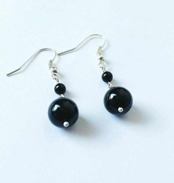 Black earrings onyx earrings silver earrings gift idea by CatiShop