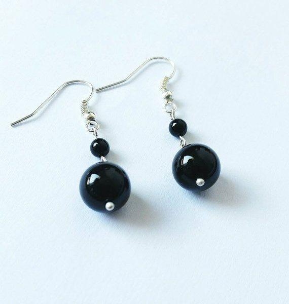 Black earrings onyx earrings silver earrings gift idea by CatiShop