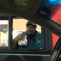 SO FUNNY!! Watch this! A guy made a costume to look like the seats in his car and the fast food drivers think there is a ghost!! Third lady is the BEST