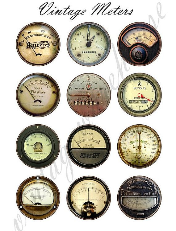 Vintage INDUSTRIAL METERS - steampunk dials,gauges and meters  Digital Collage Sheet - craft circle download 1,1.5,2 in, 16mm