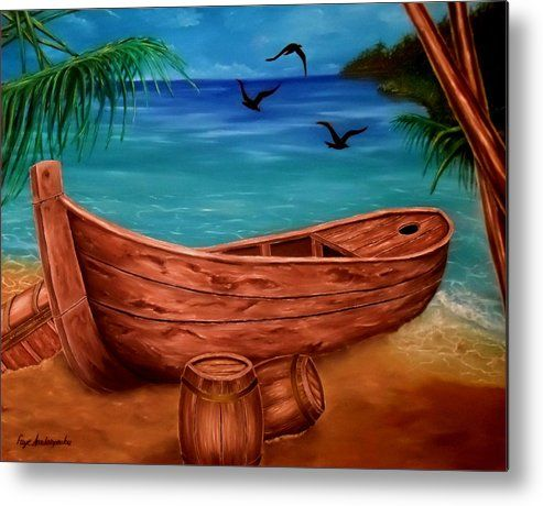 Metal Print,  piratic,boat,coastal,scene,boat,nautical,marine,tropical,sea,shore,beach,old,wooden,palmtrees,island,sandy,summer,multicolor,colorful,blue,beautiful,image,fine,oil,painting,contemporary,scenic,modern,virtual,deviant,wall,art,awesome,cool,artistic,artwork,for,sale,home,office,decor,decoration,decorative,items,ideas
