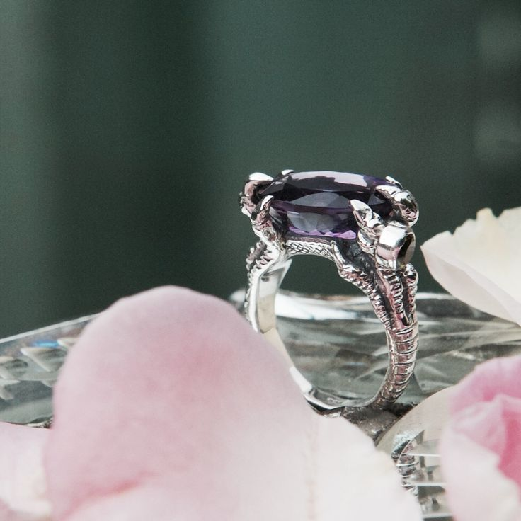 """Mother of Dragons"" ring with amethyst and tourmalines by Donna Yolka"