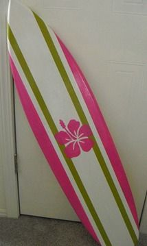 Surfboard Wall Decor - Pink Hibiscus Flower Perfect for your surfer girl!!!