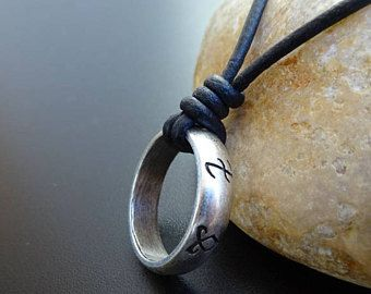 The Mortal Instruments Rune Symbol Pendant Necklace, Shadowhunters Rune Ring, Rune Leather Necklace, Mens Ring Necklace, Surfer Necklace