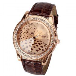$3.82 A628 Quartz Watch with 12 Small Diamond Dots Indicate Leather Watch Band Leopard Pattern Dial for Women - Brown
