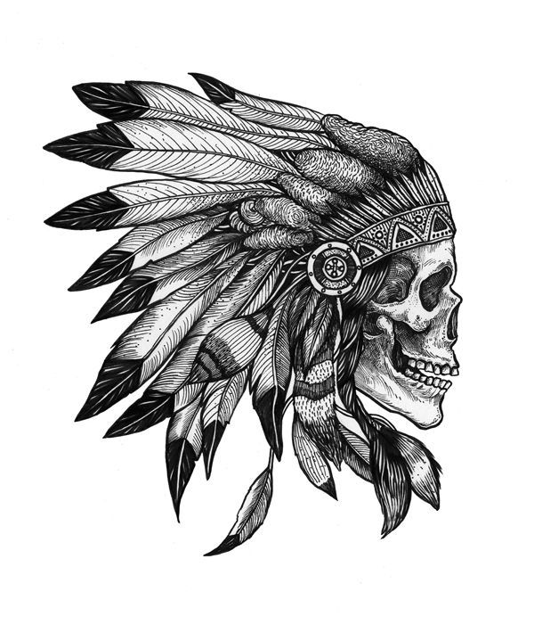Vintage Black And White Native American Tattoo Sample photo - 1