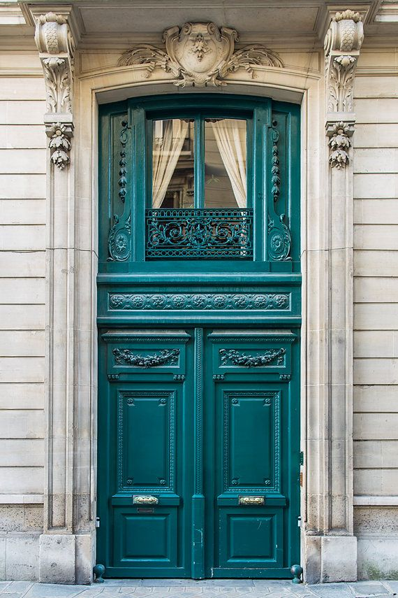 """French Doors and Their Meaning""  At this address in Paris, from 1910 to 1920, lived the American writer Edith Wharton, author of ""The Decoration of Houses"" and ""French Ways and Their Meaning"".  Taken in January, 2014. - Paris Photography - French Door Travel Photograph, Teal Architectural Fine Art Print, French Home Decor, Large Wall Art"