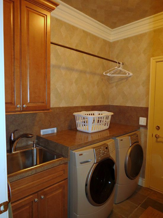 Drying rod and countertop over washer & dryer.... Laundry Room Design, Pictures, Remodel, Decor and Ideas - page 49