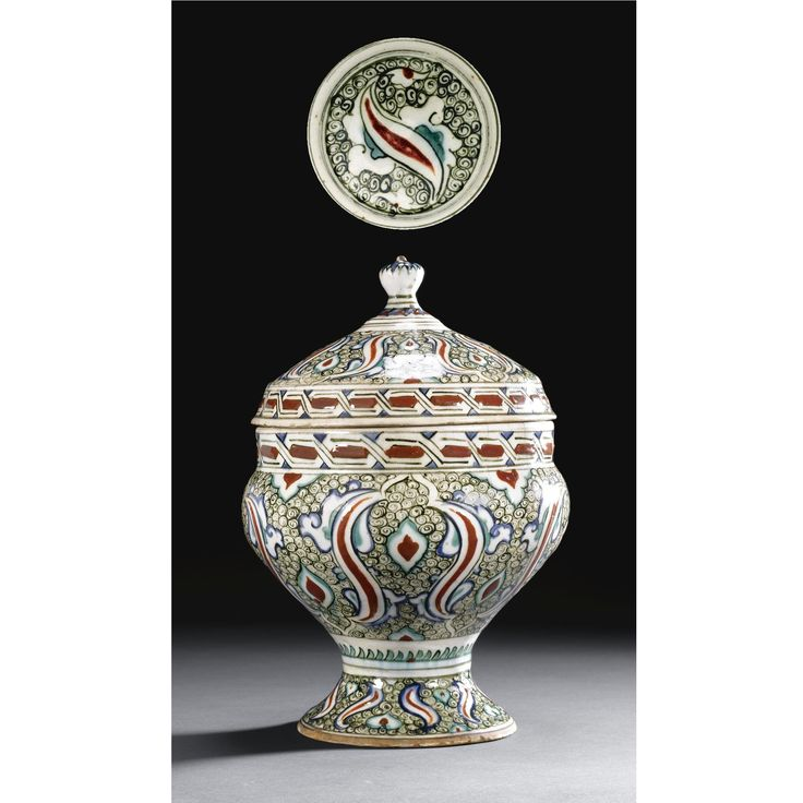 A Rare Iznik Polychrome Footed Bowl and Cover, Turkey, <P>Circa 1590</P> | Lot | Sotheby's