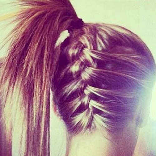 Upside-down French Braid Ponytail -- great way to freshen up a ponytail!
