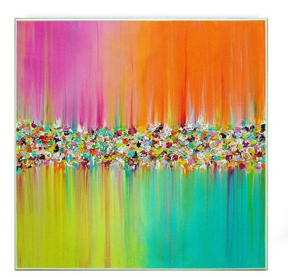 "Landscape Abstract Painting Original Acrylic Painting by M.Schöneberg ""Flowers rain"" 28x28x0,75 wall art"