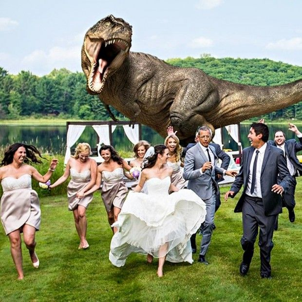 Un Tyrannosaure s'invite à un mariage avec Jeff Goldblum (Ian Malcolm dans Jurassic Park)  #photographie #tyrannosaure #mariage #jurassic #park