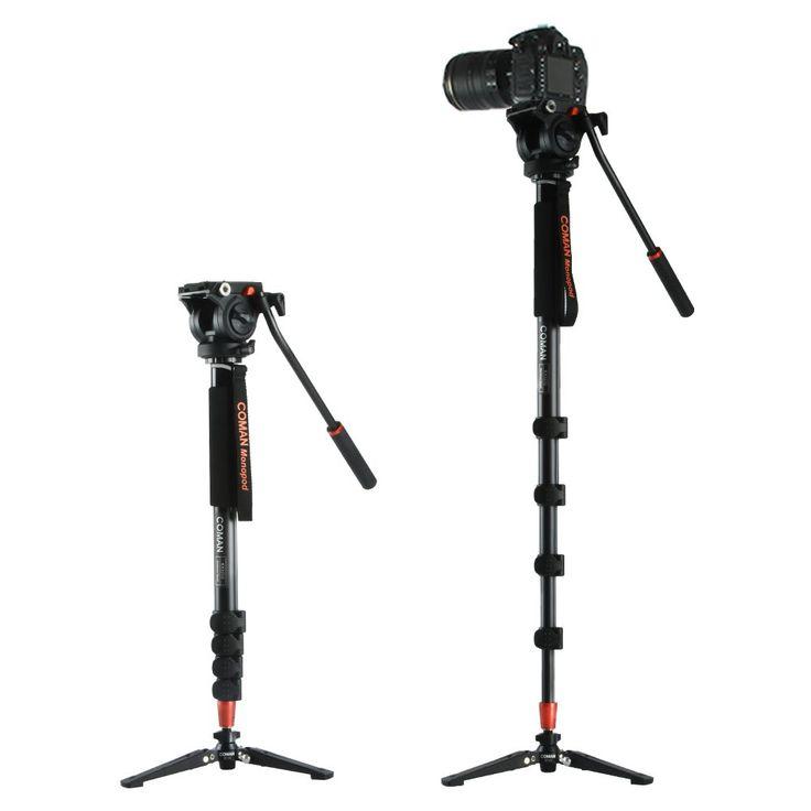 Coman KX3232 Aluminum Alloy Tripod Video Monopod with Fluid Pan Head + 3 Feet Support Unipod Holder for Canon Sony Nikon DSLR //Price: $140.53//     #electonics