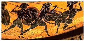 Guerreros griegos con su uniforme y armamento, reflejados en el dibujo de una cerámica. Museo Arqueológico Nacional de Madrid