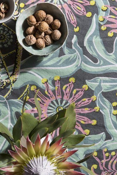 Linen/Cotton Tablecloth, Firewheel - Earth | Utopia Goods