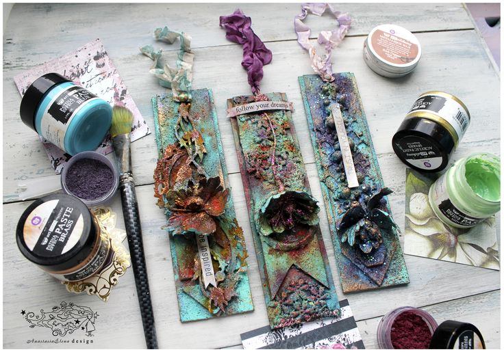 Colorful tags with my favorite Finnabair&Prima marketing Patina Effect Pastes set.