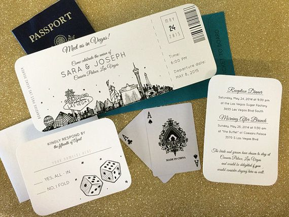 Las Vegas Skyline Plane Ticket wedding invitation by PixieChicago