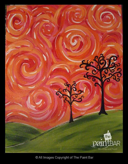 make the sky swirls different shades of blue and whitecheers to art cincinnati ohio painting studio signed up for a mosiac tree class