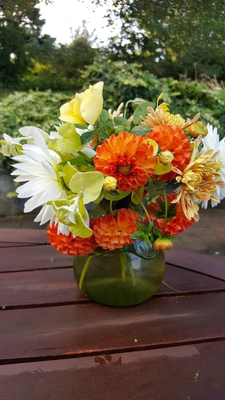 Weekly posy - dahlia, chrysanthemum, rose, foliage