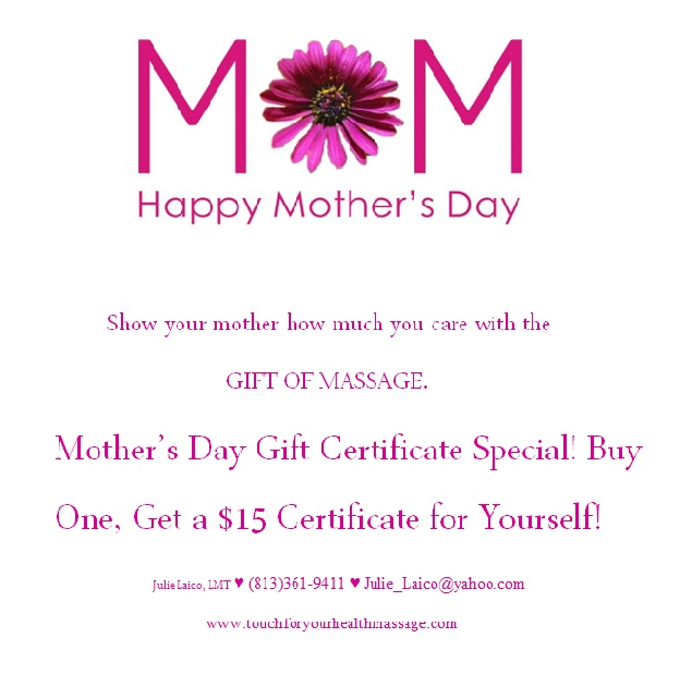 Mothers Day Gift Certificate Special Massage Pinterest Gift