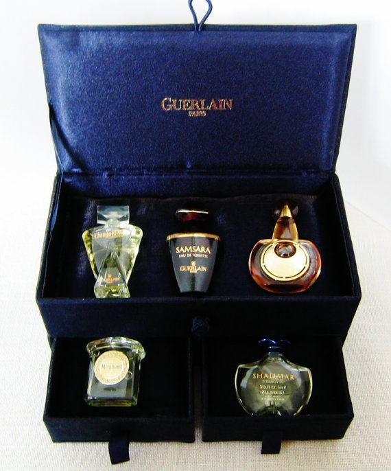 GUERLAIN Les Petits Parfums MINIATURE PERFUMES Set  in Case Mini Perfume Bottles on Etsy by pegi16, $98.99