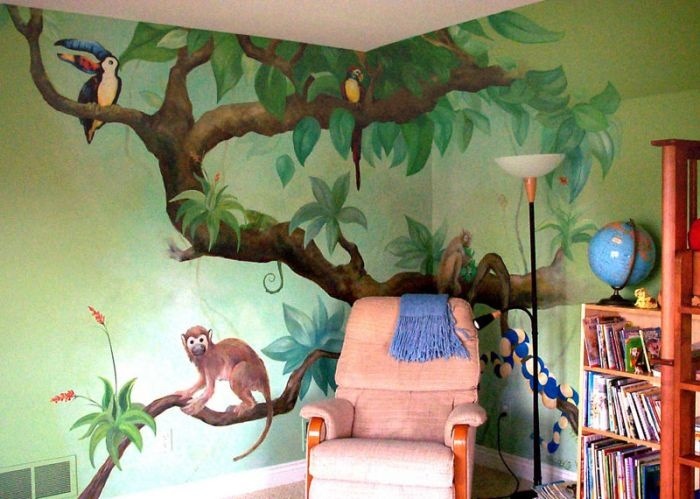 Reading Corner Jungle Tree Tree Wall Murals Kids Room