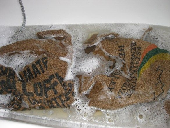 Washing and Softening Burlap
