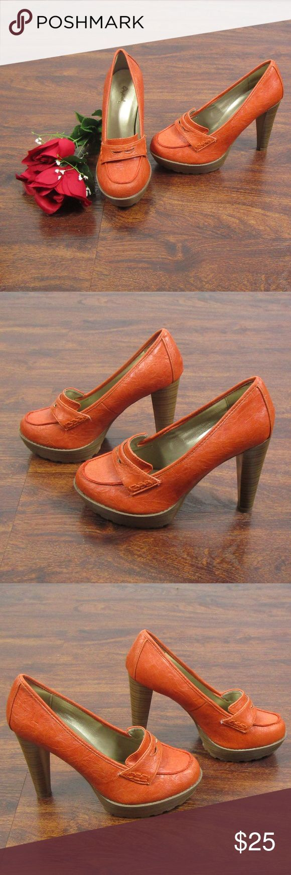 Qupid Brand Orange & Tan High Heel Loafers SZ 7.5 These beautiful heels are in excellent condition! There is a blue scuff on the outside of the right shoe (See picture ). As always offers and bundles are welcome. Feel free to add one or more items to a bundle for a private discount offer!!!  The approx. heel height is 4.5 inches  The approx. platform height is 1 inch Qupid Shoes Heels