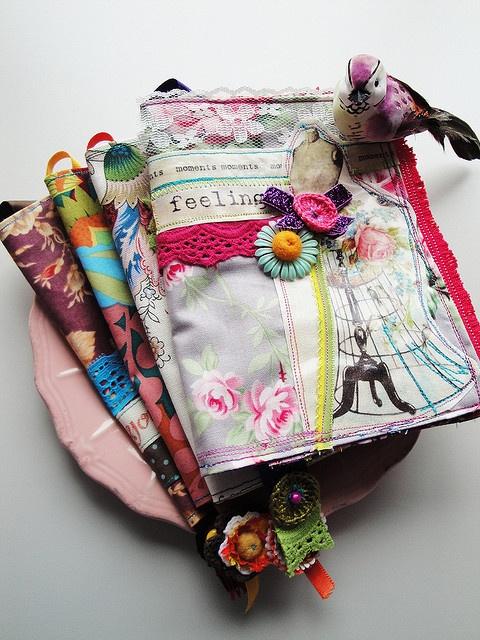 book covers by Atelier Encantado via Flickr ...... patchwork - raw edge appliqué - lace tape