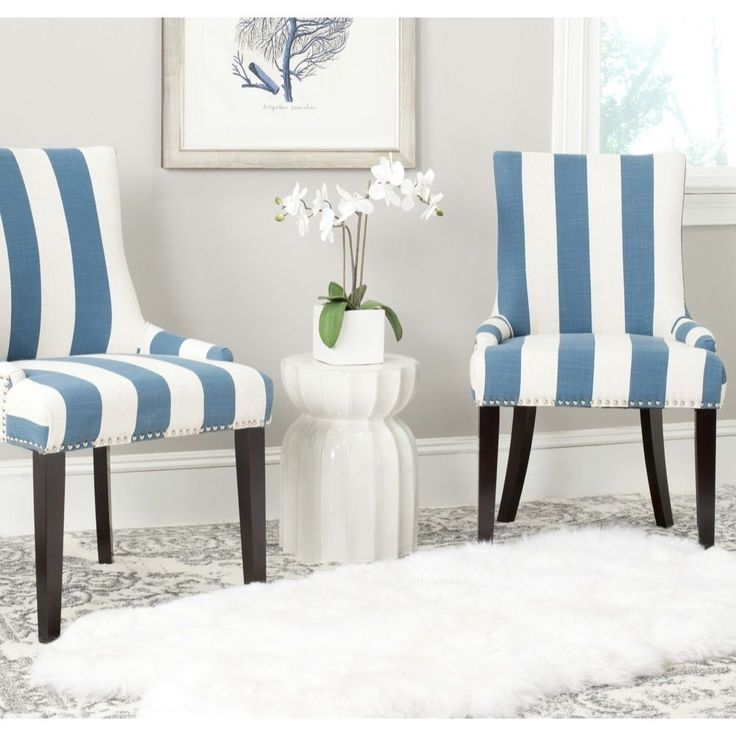 Striped Dining Room Chairs: Safavieh Lester Blue/White Stripe Polyester Blend Dining
