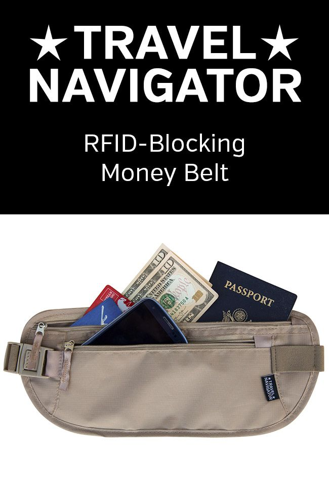 Money Belt Wallet - RFID Blocking Travel Essentials Holder For Passport ,  Money , Credit Card , Documents , and Phone - Tan