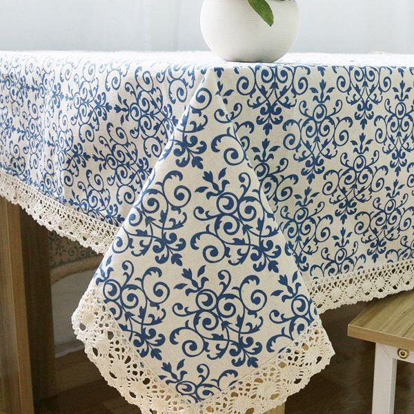 Barato Retro azul e branco toalha de mesa com rendas de algodão de impressão…