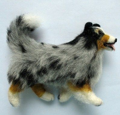 how to: needle felted dog. and not just just and dog, an aussie! switch to a red merle and i've got a teenie apache for my dollhouse <3