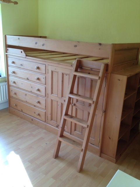 Fabulous *CABIN BED* High Riser Solid Antique Pine Bed Drawers Cupboard Bookcase #WoodstockFurniture