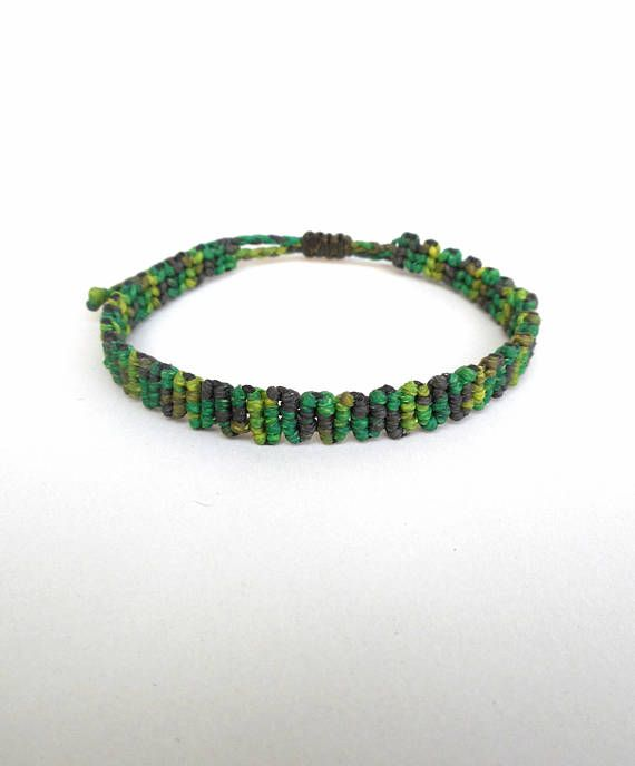 Camouflage bracelet Macrame bracelet Army green Camo