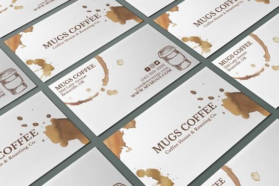 Business Cards For A Coffee Shop Or Cafe Editable Business Cards Canva Bu Vertical Business Card Template Coffee Shop Business Card Printing Business Cards