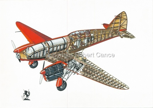 Cutaway artwork of DH88 Comet by Hubert Cance - shows the internal ribbing....
