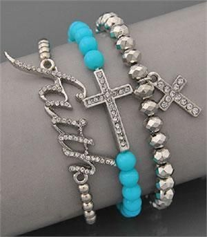 Western Jewelry Product | FAITH CROSS BLING RHINESTONE BLUE WESTERN JEWELRY BRACELET