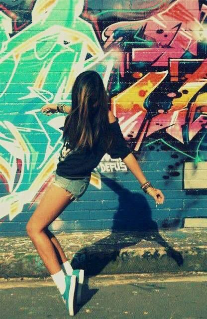 Urban Girl Graffiti Swag Art Cool Happy Streets