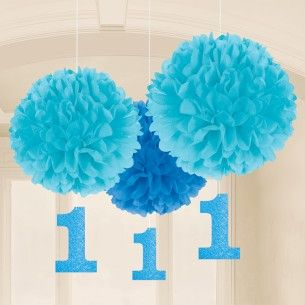 1st Birthday Boy Hanging Pom Poms