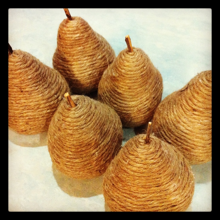 Twine wrapped pears with a stick out the top. Really happy with how they turned out!