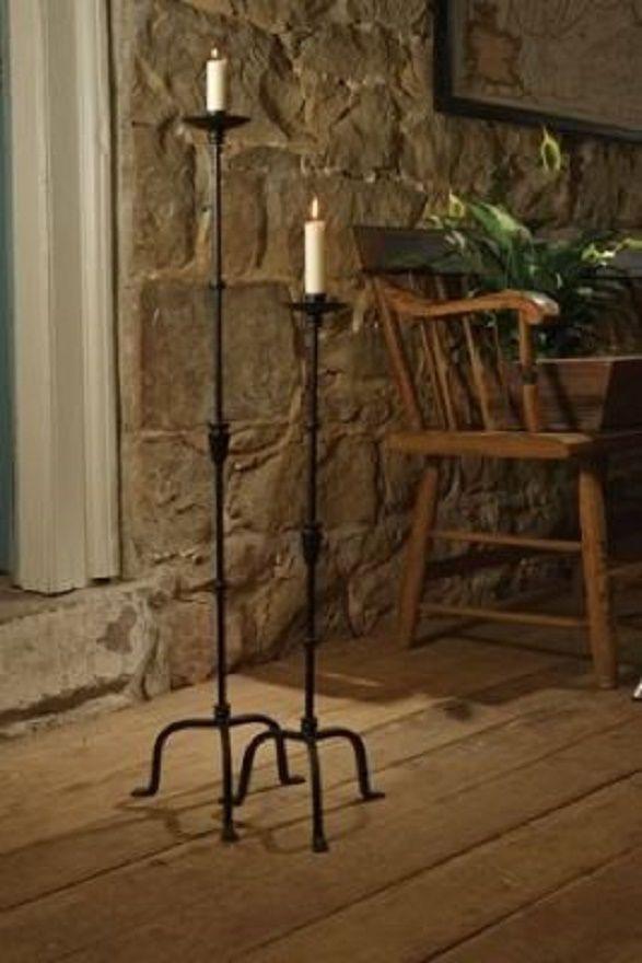 2 Pc Set Queensbury Floor Standing Candle Stick Taper Holder Black