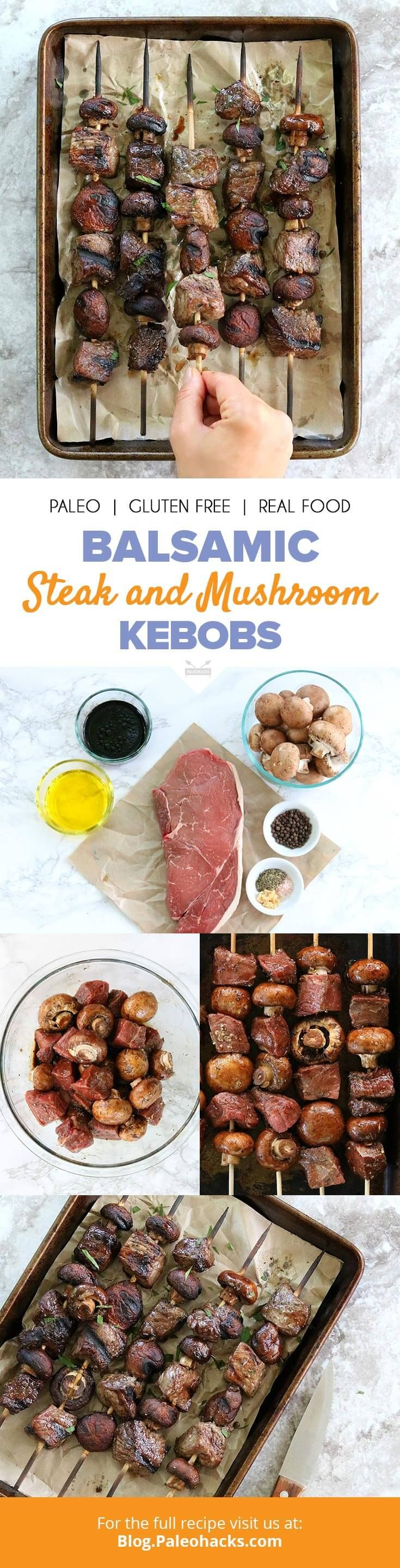Get your barbecue tongs ready! These balsamic-marinated steak and baby bella mushroom shish kebobs are about to become your new grilling favorite. Get the recipe here: http://paleo.co/steakkebobs