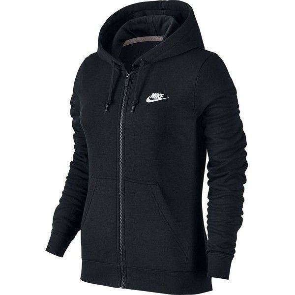 Women's Nike Full-Zip Fleece Hoodie (£37) ❤ liked on Polyvore featuring tops, hoodies, shirts, jackets, sweatshirts, grey, grey hoodie, nike shirts, hooded sweatshirt and grey hooded sweatshirt
