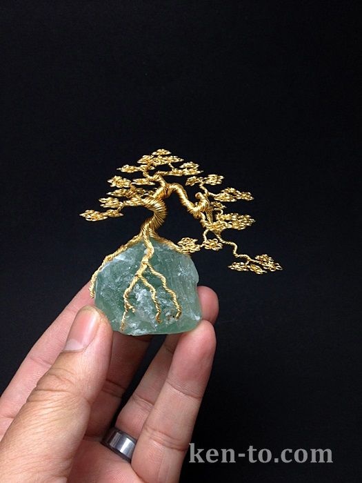 Gold cascade wire bonsai tree sculpture by Ken To by KenToArt.deviantart.com on @deviantART
